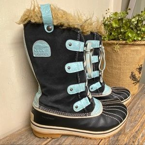 SOREL Snow Boots Black Blue Girls 5.5